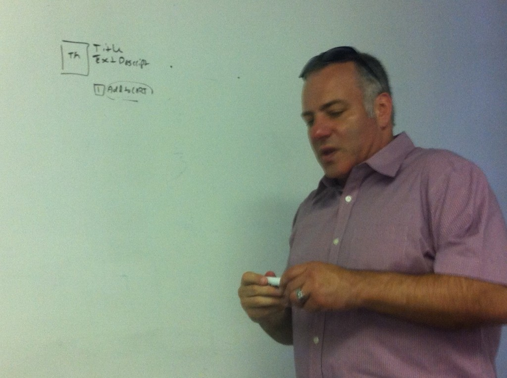 Tony, our digital strategist from DSW, starts to map out ideas on the white board.